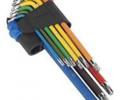 Ball-end Hex Key Set 9pc Colour Coded